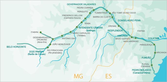 Mapa da estrada de ferro Vitória a Minas.