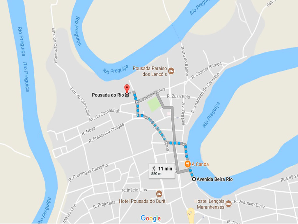 mapa onde ficar em Barreirinhas