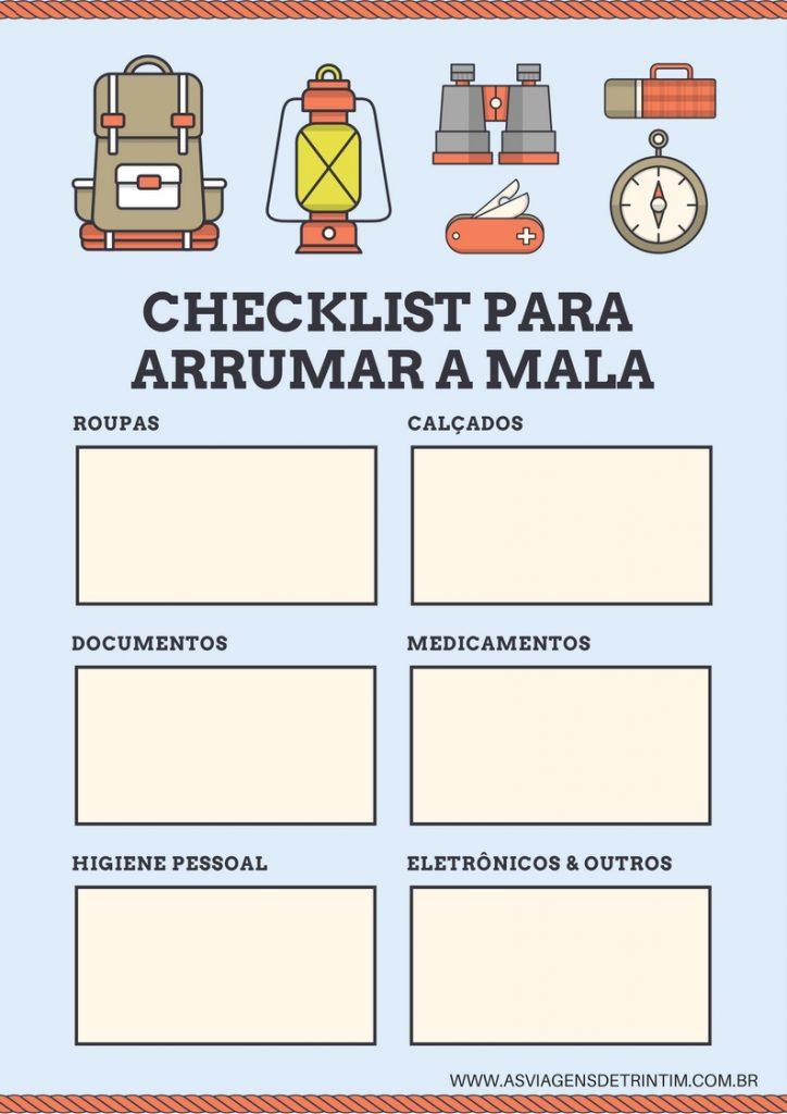 Checklist para arrumar a mala